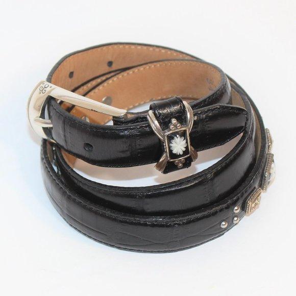 BRIGHTON Vintage Belt Genuine Leather Croc Print L